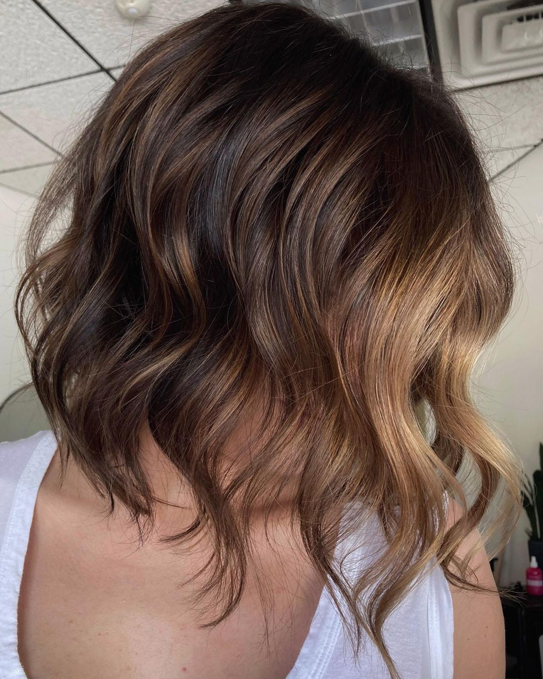 Cute Curled Lob with Partial Balayage