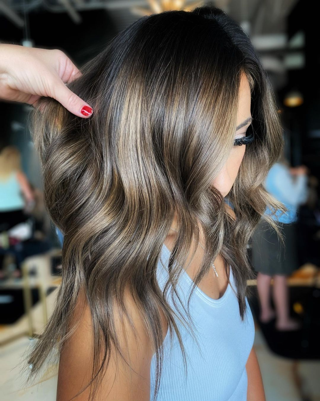 Beautiful Dark Hair with Partial Blonde Balayage
