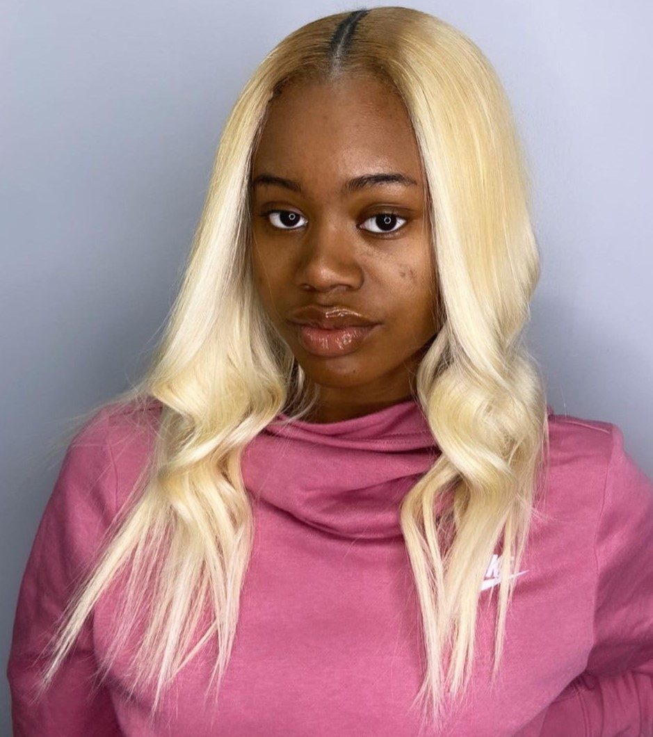 Bright Blonde Center-Parted Weave