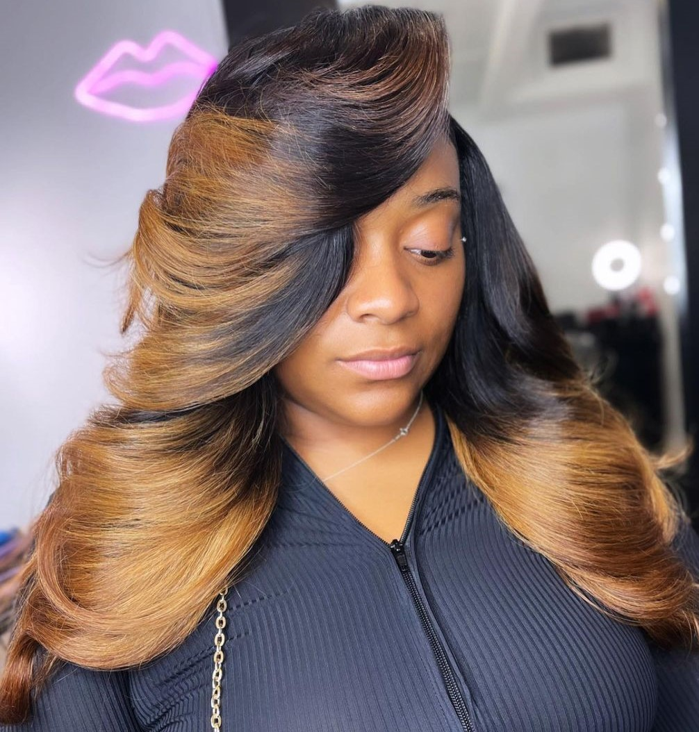 Bronde Sew In with Dark Roots