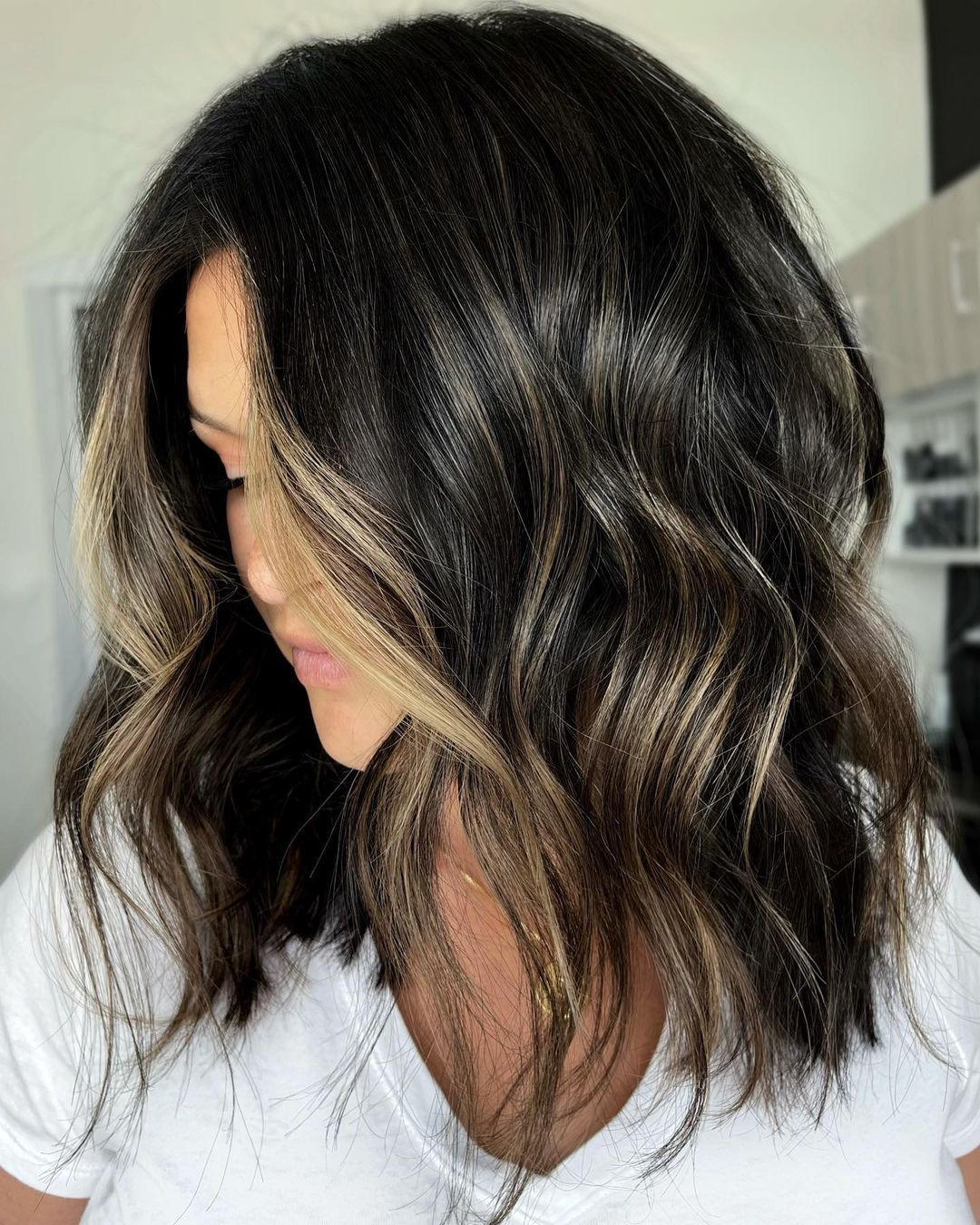 Black Hair with Partial Blonde Balayage