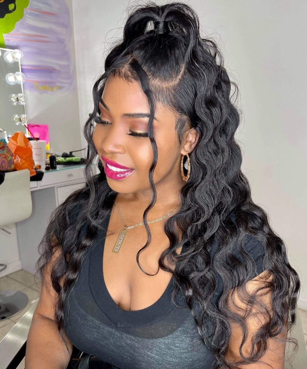 Long Half Up Ponytail Sew In