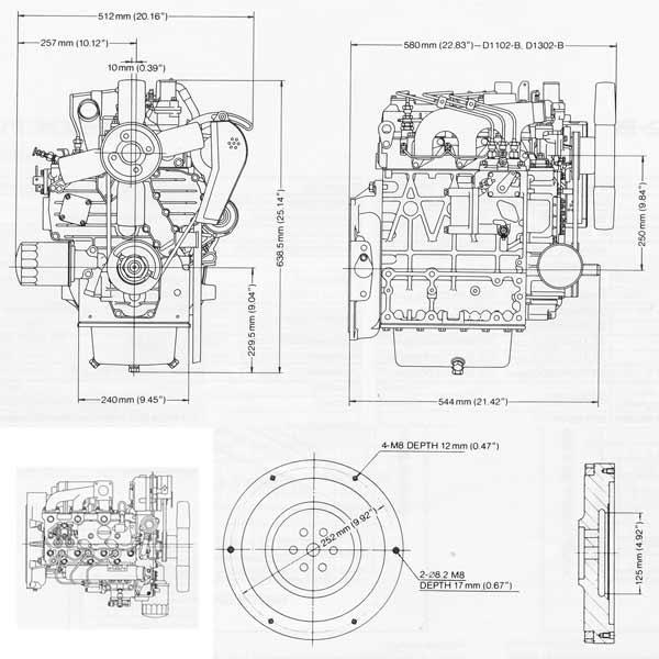 Dieselmotor Motor Kubota D1302 29,7PS 1299ccm BHKW gebr