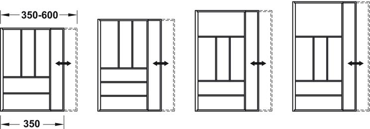 Besteckeinsatz, Blum Tandembox, Holz, Korpusbreite 450–700