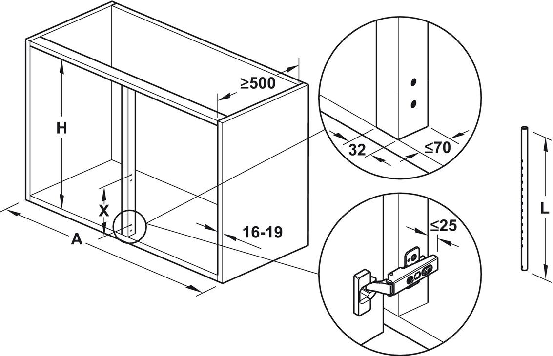 Extension pivotante pour meuble d'angle, avec fonds