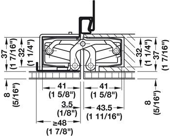 Door hinge, Simonswerk TECTUS TE 640 3D A8, with doubling