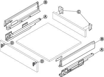 Drawer set, Häfele Matrix Box S35, drawer side height 84