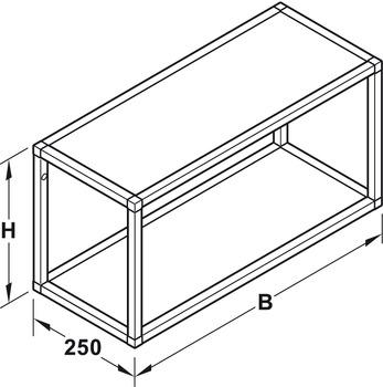Shelf system, Aluminium, Width 600-1200 mm, Schuco