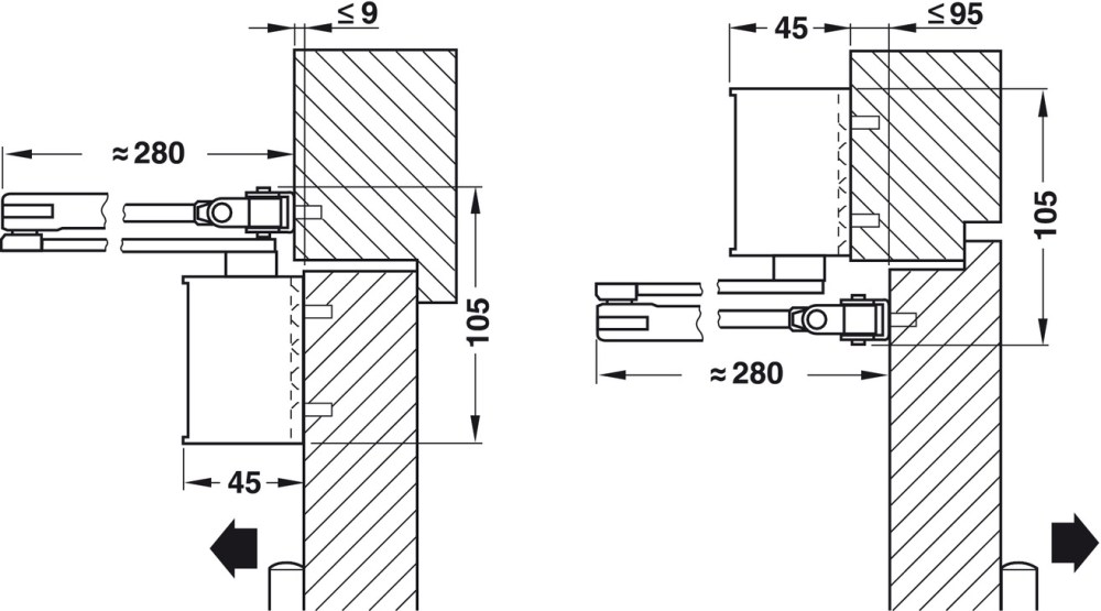 medium resolution of adjustment of the door closer to size en 3 or en 4 by turning the arm hinge