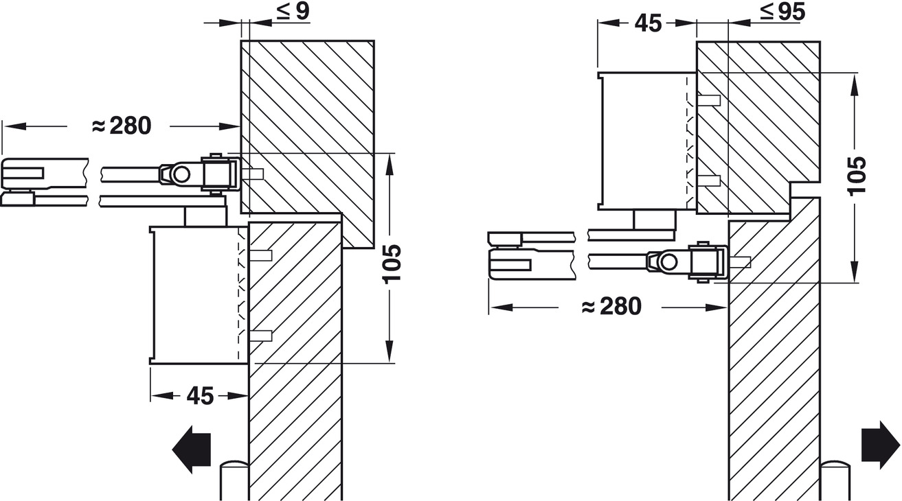 hight resolution of adjustment of the door closer to size en 3 or en 4 by turning the arm hinge