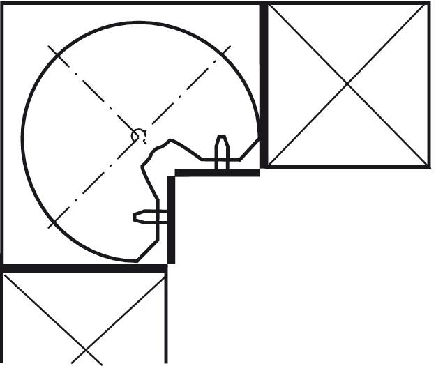Ferrure pivotante en trois-quarts de cercle, pour meuble d