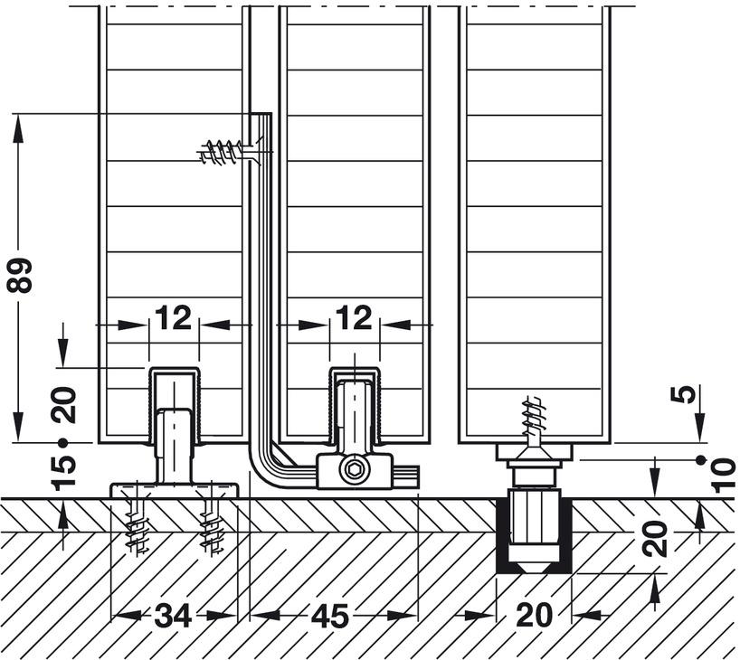 Sliding Door Hardware, Hawa Telescopic 80/3 (for 3 doors