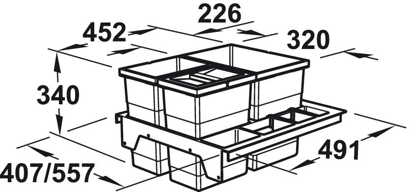Three-bin waste sorter and four-bin waste sorter, 1 x 18