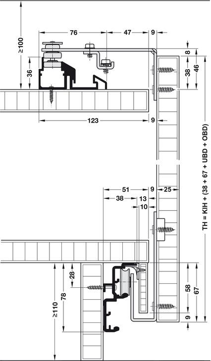Sliding door system, EKU Combino 60 VF Synchro, set