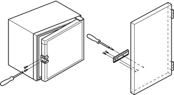 Connecting fitting for appliance doors, For built-in