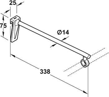 Carrier for Display Arm, Length 338 mm, Point and Rail