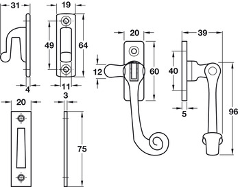 Casement Fastener, with Mortice and Hook Plate, Reversible