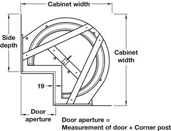 Complete Corner Carousel Unit, for 90° Angled Doors, Ninka
