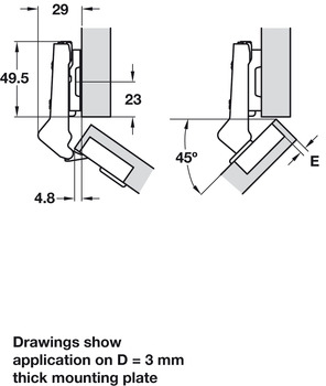 Concealed Cup Hinge, 110°, for 45° Angle Applications
