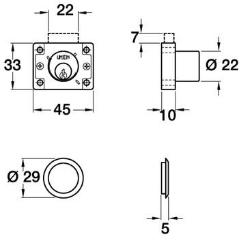 Cylinder Drawer, Cupboard Rim Lock with Deadbolt Ref 4147