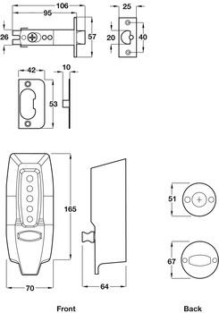 Digital Lock, Mechanical, Medium Duty, Diecast Zinc Body