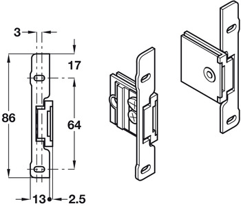 Drawer Front Fixing Components, Clip-on Fixing, for Grass