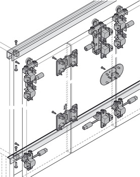 Fitting Set, for Folding Cabinet Doors, Slido Fold