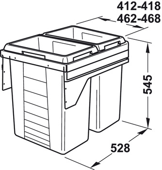 Pull Out Waste Bin, 2 x 38 Litres, Hailo Euro-Cargo