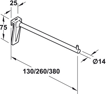 Straight Display Arm, Length 130-380 mm, Point and Rail