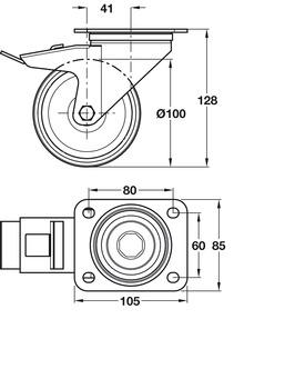 Swivel Single Wheel Castor, with Brake, Ø 100 mm, Plate