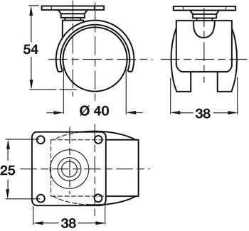 Swivel Twin Wheel Castor, without Brake, Ø 40-50 mm