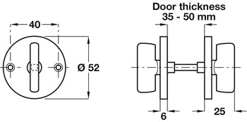 Thumbturn, Double Sided, Snib, for Hookbolt Lock, Brass