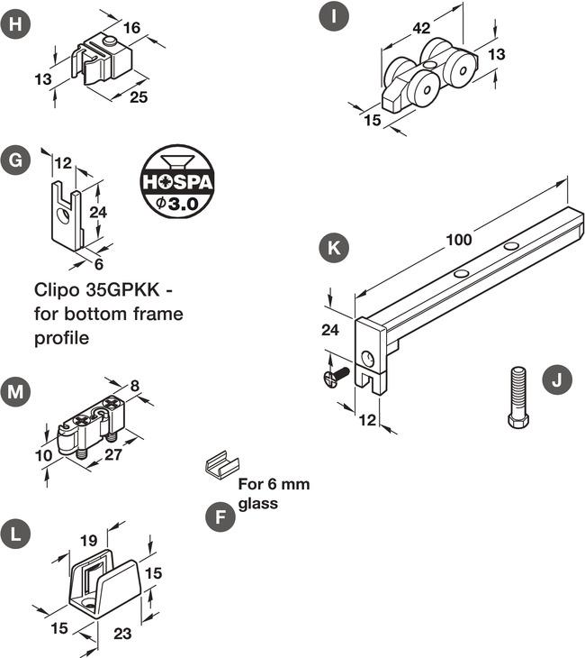 Bottom Guide, for Sliding Glass Cabinet Doors, Eku-Clipo