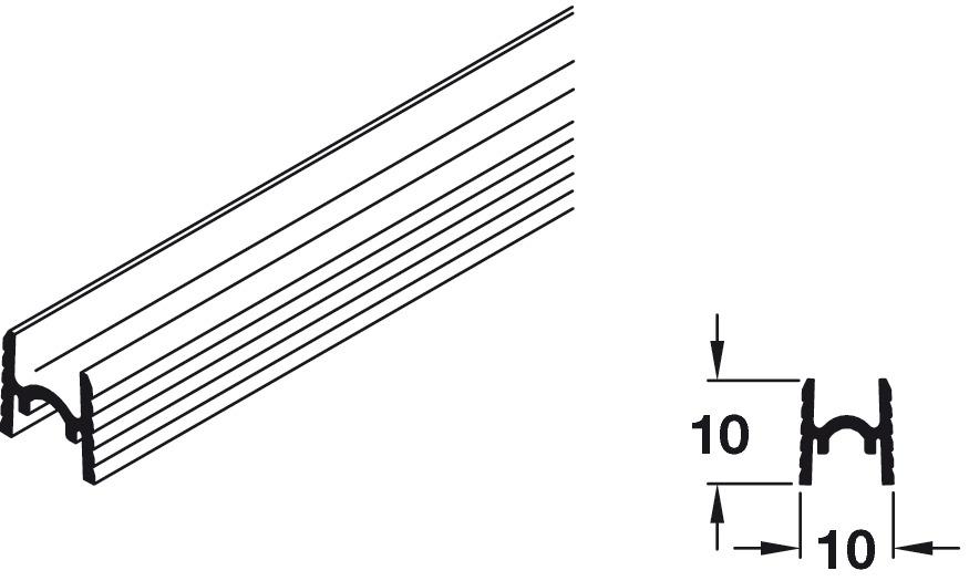 Bottom Guide Profile, for Sliding Cabinet Doors, Eku Clipo