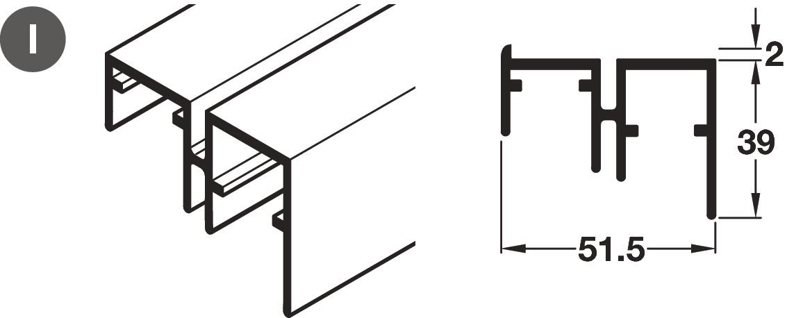 Bottom Guide Profile, for Sliding Cabinet Doors, Häfele