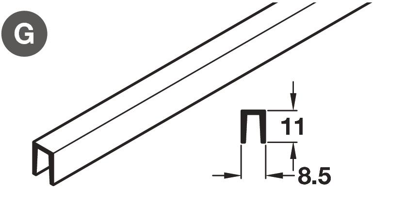 Bottom Guide Profile, for Sliding Wardrobe Doors, Häfele