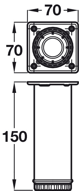 Cabinet Foot, Set of 4 Feet, 150 mm High, Satin Nickel or
