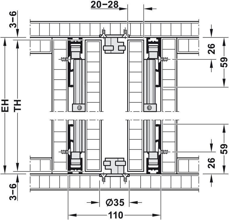 Complete Set, for Pivot Sliding Cabinet Doors, Hawa