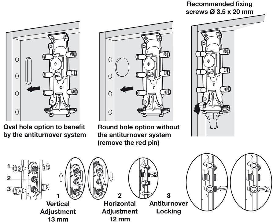 Concealed Cabinet Hanger, Dowel/Screw Mounting, Libra H2