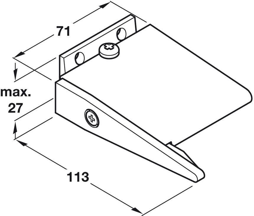 Door Selector, for Doors up to 1200 mm Wide, Aluminium