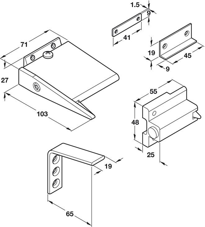Door Selector, for Fire Doors, for Max. 120 kg Door Weight