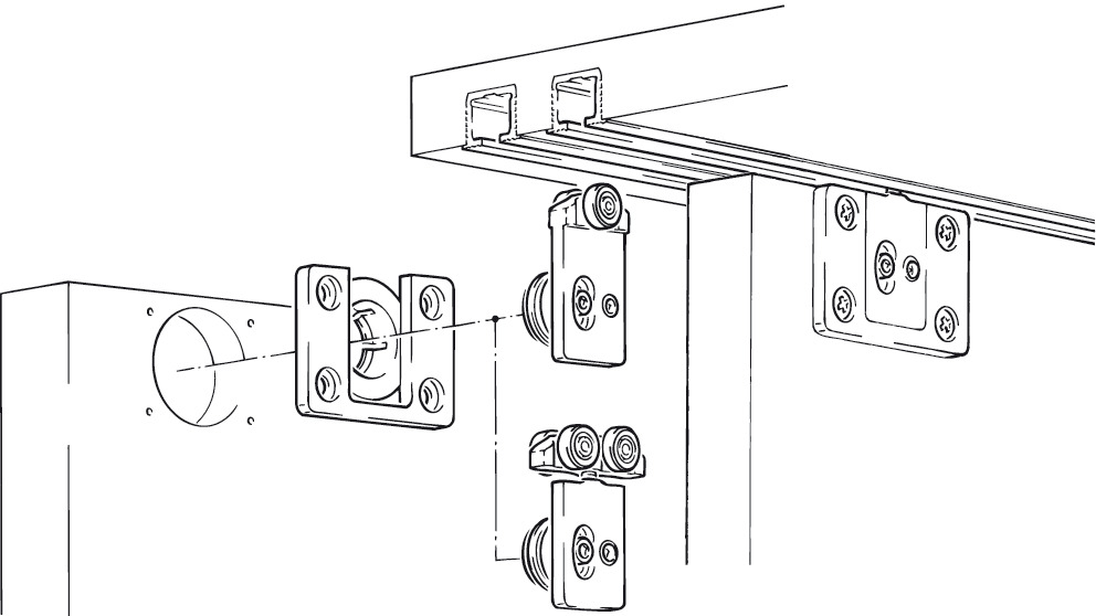 Fitting Set, for Sliding Cabinet Doors, Eku-Clipo 35