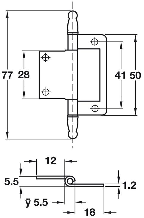 Flush Hinge, Medium Duty, for Inset Doors, Length 77 mm