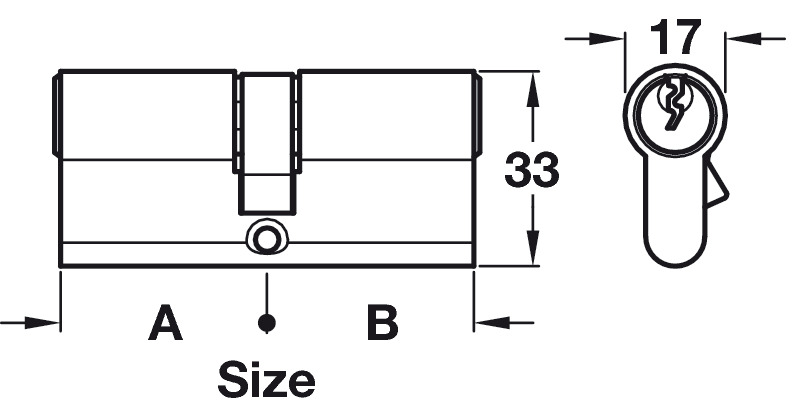 Profile Cylinder, Double, Key Only Operation, Both Sides