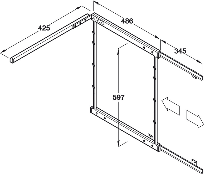 Pull Out and Swing Corner Unit, Chrome Wire, for Cabinet