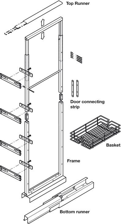 Pull Out Larder Unit, Chrome Linear Wire Baskets, Centre