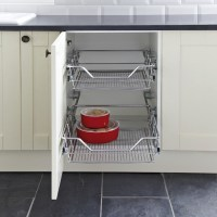 Pull Out Storage Basket Set, Chrome Mesh Wire Baskets, for ...