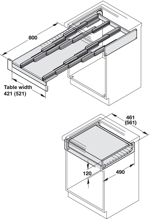Pull Out Table, Rapid, Self Supporting, Load Bearing