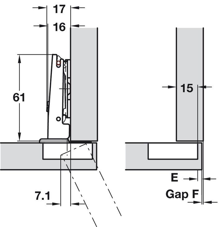 Push Door Hinge, 110° Duomatic, Self Opening, Quick