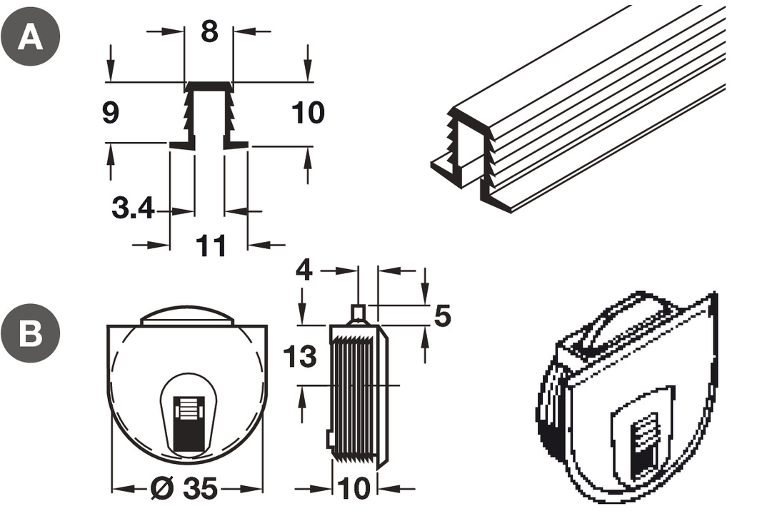 Upper/Lower Guide Channel, for Sliding and Folding Cabinet